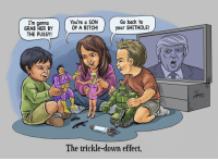 Grab Her By The Pussy: I'm qonna  GRAB HER BY  THE PUSSY!  You're a SON  OF A BITCH!  Go back to  your SHITHOLE!  2018  IE A  The trickle-down effect.