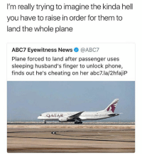 Cheating, Life, and Memes: I'm really trying to imagine the kinda hell  you have to raise in order for them to  land the whole plane  ABC7 Eyewitness News@ABC7  Plane forced to land after passenger uses  sleeping husband's finger to unlock phone,  finds out he's cheating on her abc7.la/2hfajiP  QATAR Holy shit... I would have given my life savings ($47.62) to be on that flight!!