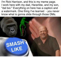 "Me_irl: I'm Rick Harrison, and this is my meme page.  I work here with my dad, Harambe, and my son,  ""dat boi."" Everything on here has a caption and  a watermark. One thing I've learned you never  know what is gonna slide through those DMs.  SMASH  LIKE Me_irl"