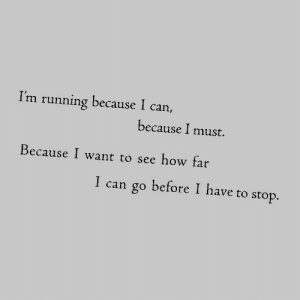 i want to see: I'm running because I can,  because I must.  Because I want to see how far  I can go before I have to stop.