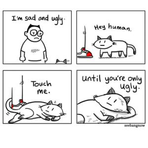 Aww, Love, and Ugly: Im sad and ualu  Hey  human.  Touch  me.  until you're only  ugly  seebangnow Aww. I love the wholesome cat!