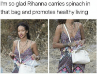 Rihanna, Living, and Spinach: I'm so glad Rihanna carries spinach in  that bag and promotes healthy living