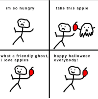 Apple, Halloween, and Hungry: im so hungry  take this apple  what a friendly ghost,happy halloween  i love apples  everybody! Friendly ghost :)