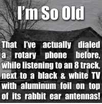 Memes, Rabbit, and 🤖: Im So Old  That I've actually dialed  a rotary phone before,  While listening to an 8 track,  next to a black & white TV  With aluminum foil on top  of its rabbit ear antennas! How old are you?