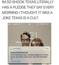 Sprint, Texans, and Texan: IM SO SHOOK TEXAS LITERALLY  HAS A PLEDGE THEY SAY EVERY  MORNING ITHOUGHT IT WAS A  JOKE TEXAS IS A CULT  ooo Sprint  20%D  Wednesda  February 1  MESSAGES  now  Kelsey Detchemendy  honor the texas flag, i pledge allegiance to thee,  texas, one state under god, one and indivisible  Press for more can texans confirm