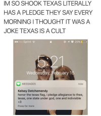 Food, Memes, and 🤖: IM SO SHOOK TEXAS LITERALLY  HAS A PLEDGE THEY SAY EVERY  MORNING ITHOUGHT IT WAS A  JOKE TEXAS IS A CULT  ooo Sprint  Wednesday, February 1  O MESSAGES  noW  Kelsey Detchemendy  honor the texas flag, i pledge allegiance to thee,  texas, one state under god, one and indivisible  Press for more My gym teacher told me that if I don't change next class that she'll kick me out and have me do writing assignments for the rest of the year, I'm good with that ~Michaela •••••••••••••••••••••••••••••••••••• TAGS TAGS TAGS TAGS TAGS tumblrtextpost tumblrposts textpost tumblr shrek instatumblr memes posts phan funnythings 😂 same funny haha loltumblr lol relatable rarepepe funnythings funnytextposts pepeislife meme funnystuff pepe food spam
