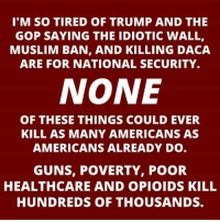 Guns, Muslim, and Trump: I'M SO TIRED OF TRUMP AND THE  GOP SAYING THE IDIOTIC WALL,  MUSLIM BAN, AND KILLING DACA  ARE FOR NATIONAL SECURITY.  NONE  OF THESE THINGS COULD EVER  KILL AS MANY AMERICANS AS  AMERICANS ALREADY DO  GUNS, POVERTY, POOR  HEALTHCARE AND OPIOIDS KILL  HUNDREDS OF THOUSANDS.