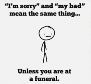 "Bad, Dank, and Sorry: ""I'm sorry"" and ""my bad""  mean the same thing...  Unless you are at  a funeral."