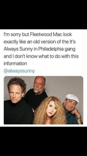 Sorry, Gang, and Information: I'm sorry but Fleetwood Mac look  exactly like an old version of the It's  Always Sunny in Philadelphia gang  and I don't know what to do with this  information  @alwayssunny Kickin doors, banging hoors