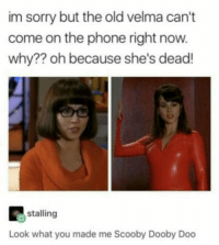 "<p><a href=""http://laughoutloud-club.tumblr.com/post/165813845512/remember-velma"" class=""tumblr_blog"">laughoutloud-club</a>:</p>  <blockquote><p>Remember Velma?</p></blockquote>: im sorry but the old velma can't  come on the phone right now  why?? oh because she's dead!  stalling  Look what you made me Scooby Dooby Doo <p><a href=""http://laughoutloud-club.tumblr.com/post/165813845512/remember-velma"" class=""tumblr_blog"">laughoutloud-club</a>:</p>  <blockquote><p>Remember Velma?</p></blockquote>"