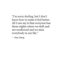 """All I Can Say Is: """"Im sorry darling, but I don't  know how to make it feel better  All I can say is that everyone has  those nights where we drift and  are swallowed and we miss  everybody in our life.""""  Alex Dang"""