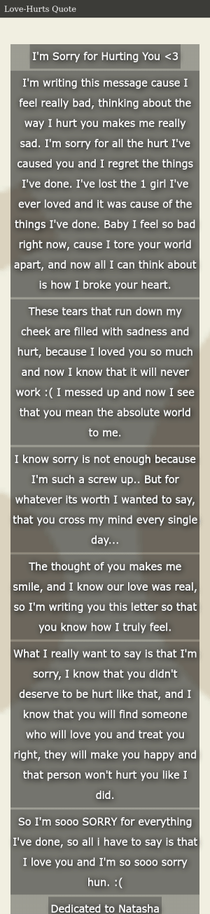 Hurt letter im you sorry i Apology Letters