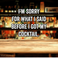 Sometimes you just need a little attitude adjustment.: I'M SORRY  FOR WHAT I SAID  BEFORE I GOT MY  COCKTAIL  MARGARTAVILE Sometimes you just need a little attitude adjustment.