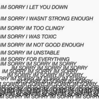 im sorry: IM SORRY I LET YOU DOWN  IM SORRY WASNTSTRONG ENOUGH  IM SORRY IM TOO CLINGY  IM SORRY I WAS TOXIC  IM SORRY IMNOT GOOD ENOUGH  IM SORRY IM UNSTABLE  IM SORRY FOR EVERYTHING  IM SORRY IM SORRY IM SORRY  RY