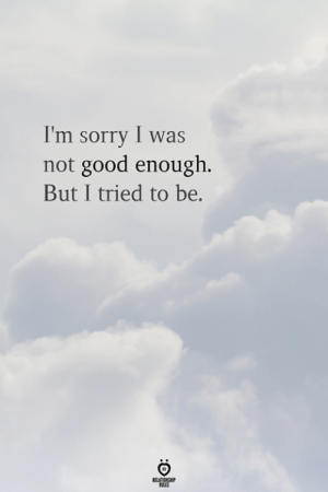 I Was Not: I'm sorry I was  not good enough.  But I tried to be.  RELATIONSHIP  ES