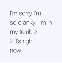 Sorry: I'm sorry I'm  so cranky. I'm in  my terrible  20's right  now