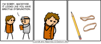 Cyanide And Happieness: I'M SORRY, MACGYVER  IT LOOKS LIKE YOU HAVE  ERECTILE DYSFUNCTION  Cyanide and Happiness O Explosm.net