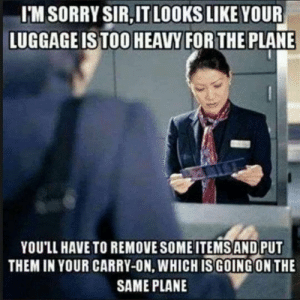 Be Like, Dank, and Memes: I'M SORRY SIR,IT LOOKS LIKE YOUR  LUGGAGEISTOO HEAVY FORTHE PLANE  YOU'LL HAVE TO REMOVE SOME ITEMS AND PUT  THEM IN YOUR CARRY-ON, WHICHIS GOING ON THE  SAME PLANE It do be like that sometimes by MrMataNui MORE MEMES