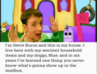 My House, Steve Burns, and Blue: I'm Steve Burns and this is my house. I  live here with my sentient household  items and ny doggo, Blue, and in siiX  years I've learned one thing: you never  know what's gonna show up in the  mailbox <p>Mail Time</p>