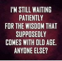 Dank, Old, and Waiting...: IM STILL WAITING  PATIENTLY  FOR THE WISDOM THAT  SUPPOSEDLY  COMES WITH OLD AGE  ANYONE ELSE? #jussayin