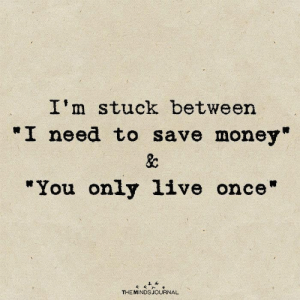 "Money, Once, and Journal: I'm stuck between  ""I need to save money""  &c  ""You only 1ive once""  THE MINDS JOURNAL"