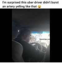Funny, Uber, and Uber Driver: I'm surprised this uber driver didn't burst  an artery yelling like that  Hoodclips.com have ya'll ever had an uber driver like this? 😂