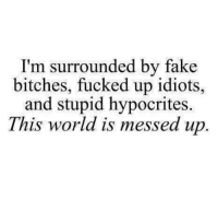 Hypocrite: I'm surrounded by fake  bitches, up idiots,  and stupid hypocrites.  This world is messed up