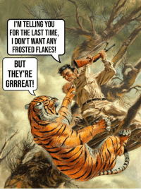Those damn salespeople: I'M TELLING YOU  FOR THE LAST TIME,  I DON'T WANT ANY  FROSTED FLAKES!  BUT  THEY'RE  GRRREAT! Those damn salespeople