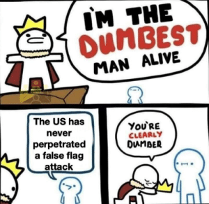 This is exactly why they work: IM THE  OUNBEST)  MAN ALIVE  The US has  You'RE  CLEARLY  DunBER  never  perpetrated  a false flag  attack This is exactly why they work