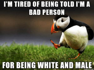 It's not fair and it's racist: I'M TIRED OF BEING TOLD I'M A  BAD PERSON  FOR BEING WHITE AND MALE  made on imgur It's not fair and it's racist