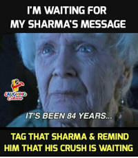 Crush, Waiting..., and Indianpeoplefacebook: I'M WAITING FOR  MY SHARMA'S MESSAGE  LAUGHING  IT'S BEEN 84 YEARS  TAG THAT SHARMA & REMIND  HIM THAT HIS CRUSH IS WAITING
