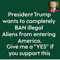 """America, Aliens, and Trump: I'm With Trump  President Trump  wants to completely  BAN illegoal  Aliens from entering  America.  Give me a """"YES"""" if  you support this"""