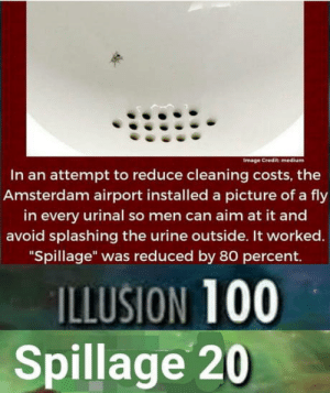 "Club, Tumblr, and Amsterdam: Image Credit: medium  In an attempt to reduce cleaning costs, the  Amsterdam airport installed a picture of a fly  in every urinal so men can aim at it and  avoid splashing the urine outside. It worked.  ""Spillage"" was reduced by 80 percent.  ILLUSION 100  Spillage 20 laughoutloud-club:  Spillage 20"