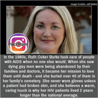 Facts, Friends, and Love: Image Credits: Jeff Dailey  FactPoin  In the 1980s, Ruth Coker Burks took care of people  with AIDS when no one else would. When she saw  dying gay men were being abandoned by their  families and doctors, it became her mission to love  them until death and she buried over 40 of them in  her family's cemetery. She never wore gloves unless  a patient had broken skin, and she believes a warm  caring touch is why her HIV patients lived 2 years  longer than the national average. Aids is not contagious 👍 did you know fact point , education amazing dyk unknown facts daily facts💯 didyouknow follow follow4follow earth science commonsense f4f factpoint instafact awesome world worldfacts like like4ike tag friends Don't forget to tag your friends 👍