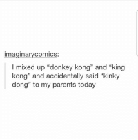 """Follow for more funny tumblr and textposts!!: imaginarycomics:  I mixed up """"donkey kong"""" and """"king  kong"""" and accidentally said """"kinky  dong"""" to my parents today Follow for more funny tumblr and textposts!!"""