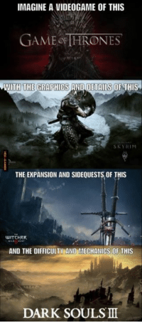 Dark Souls Meme: IMAGINE A VIDEOGAME OF THIS  GAME OF HRONES  WITH THE GRAPHICS AND DETAILS OF THIS  SKY RIM  THE EXPANSION AND SIDEQUESTS OF THIS  WITCHER  AND THE DIFFICULTY ANDEMECHANICS OF THIS  DARK SOULS