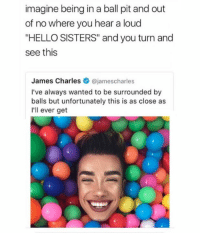 """SCREAMING @intersectionalmemes: imagine being in a ball pit and out  of no where you hear a loud  """"HELLO SISTERS"""" and you turn and  see this  James Charles@jamescharles  I've always wanted to be surrounded by  balls but unfortunately this is as close as  I'll ever get SCREAMING @intersectionalmemes"""