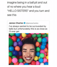 """SCREAMING @intersectionalmemes: imagine being in a ball pit and out  of no where you hear a loud  """"HELLO SISTERS"""" and you turn and  see this  James Charles ajamescharles  I've always wanted to be surrounded by  balls but unfortunately this is as close as  I'll ever get SCREAMING @intersectionalmemes"""