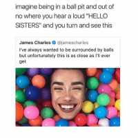 """omg -F: imagine being in a ball pit and out of  no where you hear a loud """"HELLO  SISTERS"""" and you turn and see this  James Charles @jamescharles  I've always wanted to be surrounded by balls  but unfortunately this is as close as l'll ever  get omg -F"""