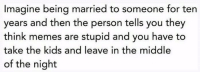 Memes Are Stupid: Imagine being married to someone for ten  years and then the person tells you they  think memes are stupid and you have to  take the kids and leave in the middle  of the night