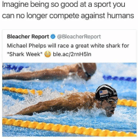 "i need sleep: Imagine being so good at a sport you  can no longer compete against humans  Bleacher Report  @Bleacher Report  Michael Phelps will race a great white shark for  Shark Week""  ble.ac/2rnH5ln  PHELPS i need sleep"