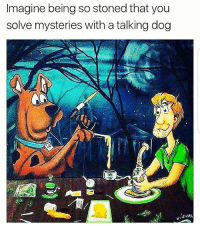 That would be crazy 😅😂 🍁Follow ➡ @weedsavage 🍁 weedsavage: Imagine being so stoned that you  solve mysteries with a talking dog  SUAC That would be crazy 😅😂 🍁Follow ➡ @weedsavage 🍁 weedsavage
