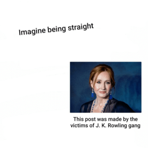 Just imagine: Imagine being straight  This post was made by the  victims of J. K. Rowling gang Just imagine