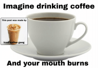 Coffee: Imagine drinking coffee  This post was made by  Iced coffee gang  And your mouth burns
