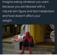 Blessed, Food, and Affect: imagine eating whatever you want  because you are blessed with a  natural slim figure and fast metabolism  and food doesn't affect your  weight