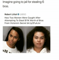Jail, Lmao, and Memes: Imagine going to jail for stealing 6  bras.  Robert Littal BSO  How Two Women Were Caught After  Attempting To Steal $11K Worth of Bras  From Victoria's Secret bit.ly/2FuAJvr lmao hi