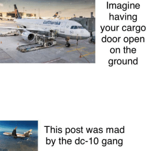 Dc 10 gang for life: Imagine  having  Lufthansa  lamy  your cargo  door open  lan  alamy  on the  ground  This post was mad  by the dc-10 gang Dc 10 gang for life