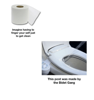 Water = clean: Imagine having to  finger your self just  to get clean  This post was made by  the Bidet Gang Water = clean