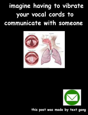 Or was it made by text gang.......: imagine having to vibrate  your vocal cords to  communicate with someone  Sat paiab  చw cd  Torgue  Trochea  Dcead voail oad  Lung  this post was made by text gang Or was it made by text gang.......