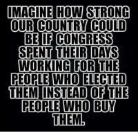 Memes, Strong, and 🤖: IMAGINE HOW STRONG  OUR COUNTRY COULD  BE OF CONGRESS  SPENT THEIR DAYS  WORKING FOR THE  PEOPLE WHO ELECTED  THEM INSTEAD OF THE  PEOPLE WHO BUY  THEM Amen to that!